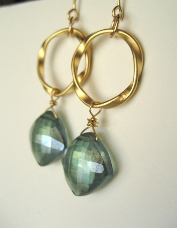 The Color of Emeralds...Mystic Green Quartz and Gold Earrings...FREE SHIPPING