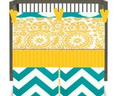 10% OFF SALE-Custom Crib Bedding in Premier Prints-Turquoise-3 Piece