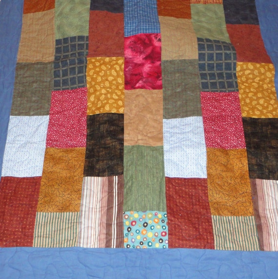 PRICE REDUCED Throw size flannel quilt