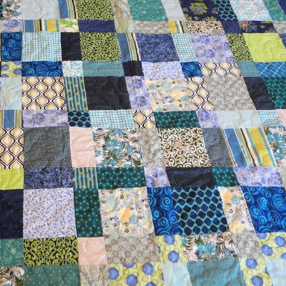 King size navy. lime green and turquoise quilt