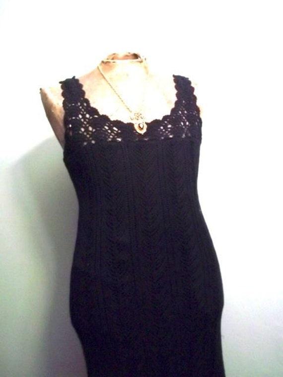 Black Spring Boho Witch Crochet Dress M/L