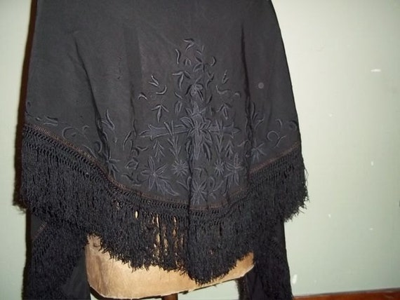 Black Victorian Embroidered Mourning Shawl