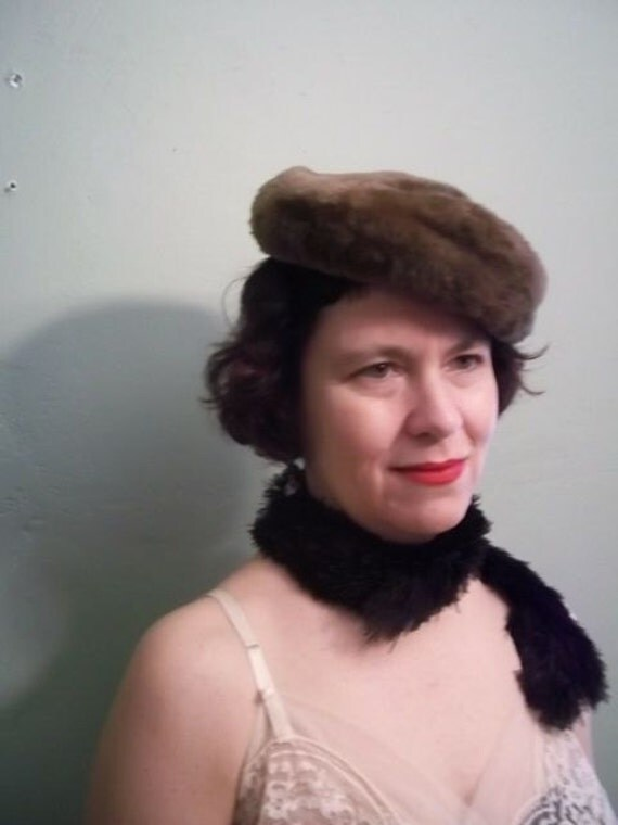 Tan Faux Fur Pill Box 1960s hat