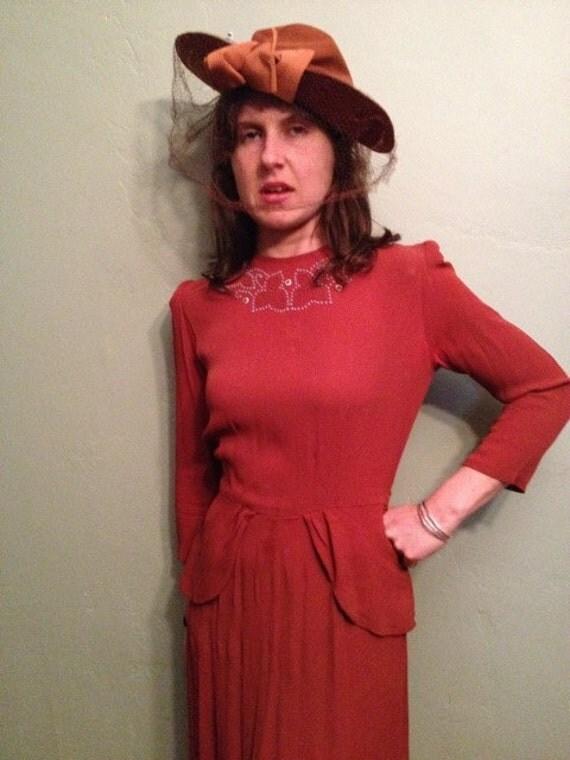 1940s Pumpkin Gabardine Peplum Dress M/L