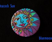 the Peacocks SUN  Button or Magnet
