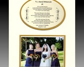 Personalized TO A SPECIAL BRIDESMAID wedding bridal party favor picture poem gift