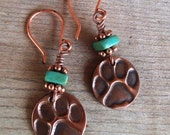 COPPER Paw Print and Turquoise Earrings