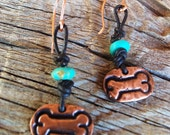 COPPER Dog Bone, Leather and Turquoise Earrings