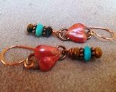 COPPER Heart Earrings - Cowgirl Earrings - Turquoise - Rustic Jewelry - Western - Heart of a Cowgirl Jewelry