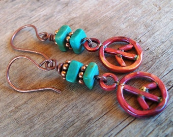 Copper PEACE SIGN Earrings -Turquoise Earrings - Boho - Cowgirl Jewelry - Rustic