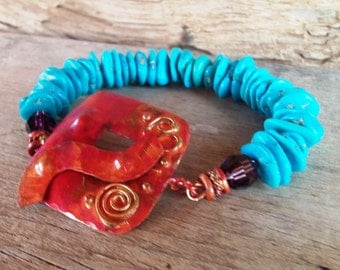 Sleeping Beauty Turquoise Bracelet - Copper - Crystal - Cowgirl Jewelry - Rustic Bracelet by Heart of a Cowgirl