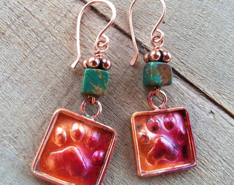 Paw Print Earrings - Copper - Genuine Turquoise - Dog Lover - Dog Rescue Jewelry - Animal Lover