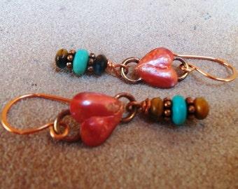 COPPER Heart Earrings - Cowgirl Earrings - Turquoise - Rustic Jewelry - Boho -Western Jewelry by Heart of a Cowgirl