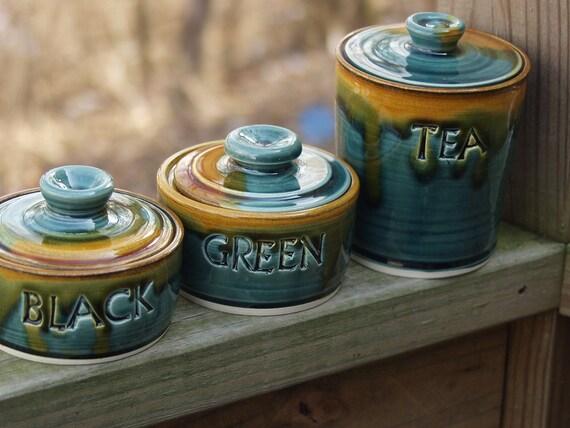Loose Leaf Tea Canisters Set Lidded Storage Jars  Peacock Amber Ready to Ship