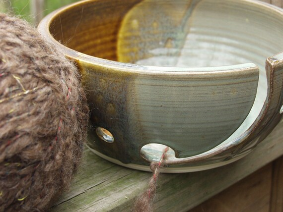 Perfect for Mom Yarn Bowl Knitting Crocheting Dish Knitting Bowl Circle Cut Outs Rustic Moss