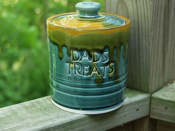 Fathers Day DADS TREATS Jar Canister Lidded Storage Jar Peacock Amber Ready to Ship