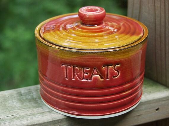 Treat Snack Jar Dog Puppy Lidded Treat Jar Ready to Ship