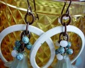 Happy Floral Cluster Earrings with Painted Steel Rings