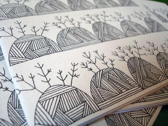 hills n twigs. hand drawn pattern notebook.