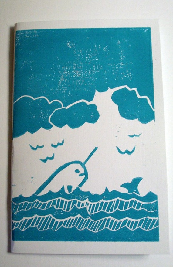 narwhal notebook on seafoam blue (with border)