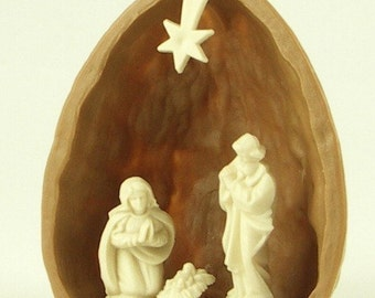 Nativity in Walnut Shell - German Import - Christmas - 203-3-137