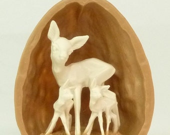 Walnut Shell with Deer - (203-3-137A)