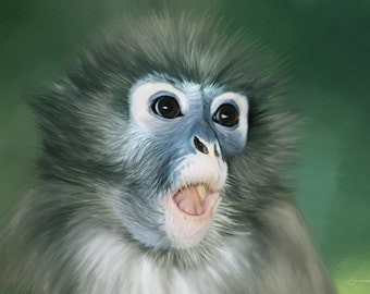 Original Art, ACEO, Monkey, Suprised