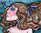 DRAGONFLY Diva original art nouveau nude female ACEO xr  by Lisa Luree