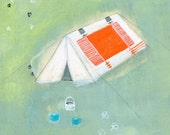 archival fine art giclee print - limited edition . tent with coffee