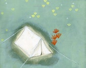 archival fine art giclee print - limited edition . white tent
