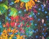 Garden Sanctuary ,Original Acrylic on paper collage 23x35, garden, Home decor, office decor, Sunflower, flowers