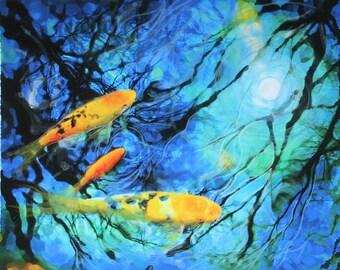 Moonlight swim, 8x10, Original, Signed, Fine art photograph, with mixed medias, blue decor, Koi, moon, water, reflection