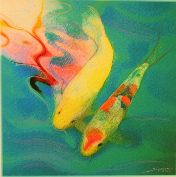 Always together, 8x8, Original Signed, Fine Art photograph, Koi, teal decor, art, home decor, fish, love, unique Wedding gift