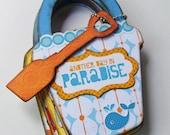 SALE Bucket Full O Beach Paradise Mini Chipboard Photo Album