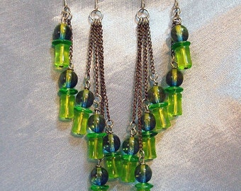 Serpent Flowing -- lime-olive green and antiqued brass chainfall earrings 2-pair set