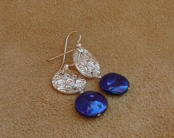 Cobalt Blue Swirl PMC Earrings