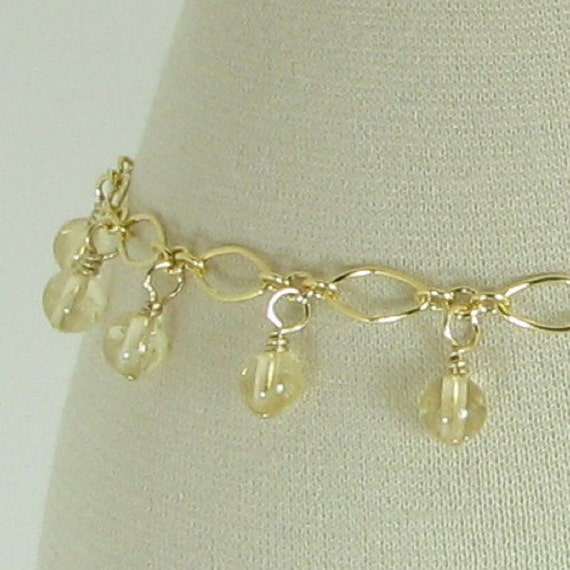 Citrine and Gold Filled Chain Bracelet