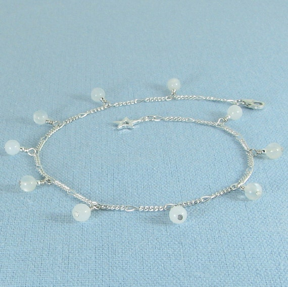 Moonstone and Sterling Silver Chain Anklet