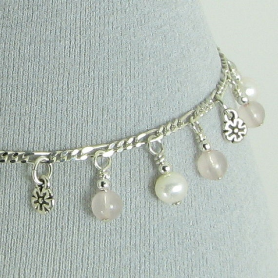 Rose Quartz, Pearl and Sterling Silver Chain Bracelet