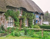 Ireland Photography, Landscape, Irish Cottage Photo, Thatched Cottage, Wall Decor, Powder Room, Bathroom Decor, Irish Home, Green Gray
