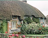 Fine Art Irish Landscape Ireland Photography Home Wall Decor Thatched Cottage Green Door Flowers Photo