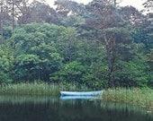 Blue Boat Kylemore Abbey Irish Photography Ireland Landscape Photo Fine Art Print Tree Photograph Blue And Green Connemara Decor Green Lake