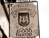 Ireland Photography Kelly Irish Restaurant Sign Photo 5 x 7 Matted Sepia Fine Art Kelly Coat of Arms Sepia Photography