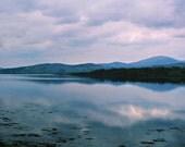 Irish Lake, Ireland Photography,  Nature Landscape, Cloud Photography, Fine Art Photo, Blue Purple Silver, Cloud Lake, Irish Evening, 5 x 7
