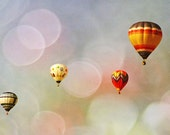 Hot Air Balloon Photo Blue Purple Green Bubbles Nursery Childrens Room Decor Red Orange Fine Art