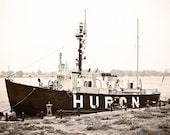 Lightship Nautical Photograpy Monochromatic Port Huron Michigan Sepia Style Beige And Brown Lustre 5 x 7 Fine Art Home Wall Decor