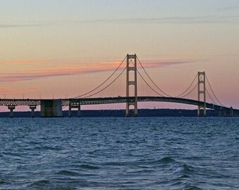 Mackinac Bridge Photography, Michigan Sunset, Fine Art Print, Mighty Mac, Architecture Photo, Blue And Pink, Landscape Artwork, Wall Decor