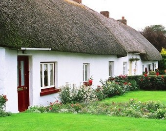 Irish Cottage, White Thatched House, Ireland Photography, Irish House, White Cottage Landscape Photo, Ireland Decor, Wall Decor, Irish Print