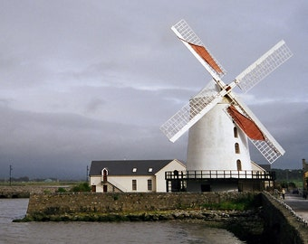 Irish Wind Mill, Irish Windmill Photo, Blennerville Mill Ireland Photography, Tralee County Kerry, Irish Decor, Wall Decor Gray Silver White