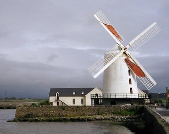 Irish Wind Mill, Blennerville Mill, Ireland Photograph, Irish Windmill, Tralee County Kerry, Irish Decor Fine Art, Wall Decor Blue And White